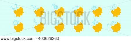 Set Of Open Mind Cartoon Icon Design Template With Various Models. Modern Vector Illustration Isolat