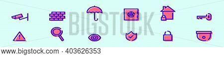 Set Of Neighborhood Watch Cartoon Icon Design Template With Various Models. Modern Vector Illustrati