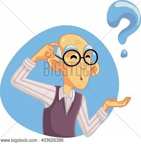 Funny Senior Man Thinking Having Many Questions