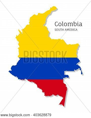 Map Of Colombia With National Flag. Highly Detailed Editable Colombian Map, South America Country Te