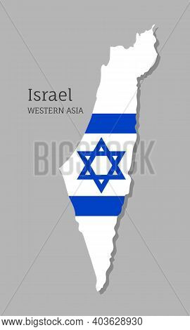Map Of Israel With National Flag. Highly Detailed Editable Map Of Israel, Western Asia Country Terri