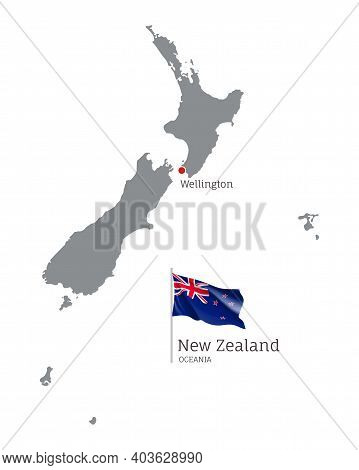 Silhouette Of New Zealand Country Map. Gray Detailed Editable Map Of New Zealand With National Flag
