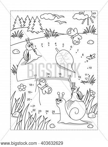 Snails And Mushroom Full Page Connect The Dots Puzzle And Coloring Page, Activity Sheet For Kids. An