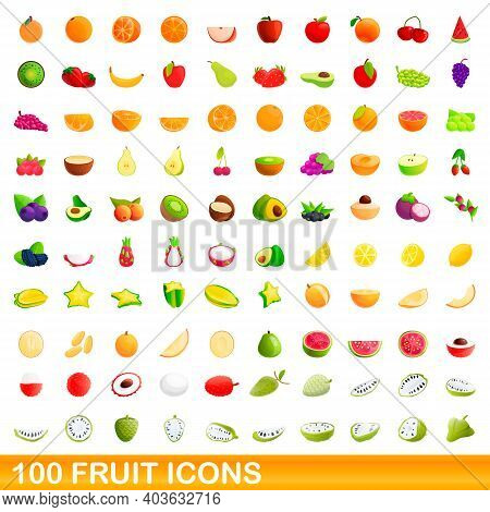 100 Fruit Icons Set. Cartoon Illustration Of 100 Fruit Icons Vector Set Isolated On White Background