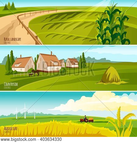 Countryside Cropland Under Cultivation And Farmhouses With Haystack 3 Horizontal Flat Banners Set Ab