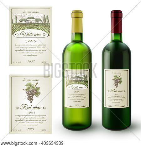 Wine Realistic Bottles And Paper Sticky Labels Set Isolated Vector Illustration