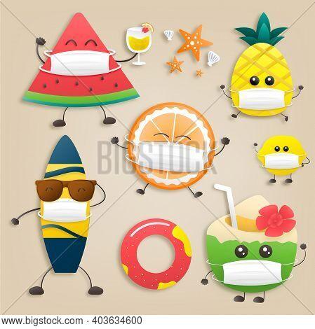 Set Cute Fruit Cartoon Design With Vector Watermelon, Pineapple, Orange, Lemon, Coconut, Orange Juic