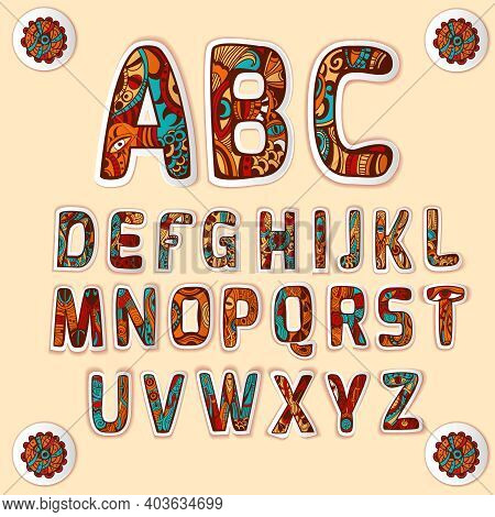 Zentangle Alphabet With Beautifully Structured Art Design Used For Letters Stickers Set Colored Glos