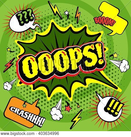 Big Green Jagged Oops Bubble Comics  Poster Print With Lightening And Crash Boom Exclamations Abstra