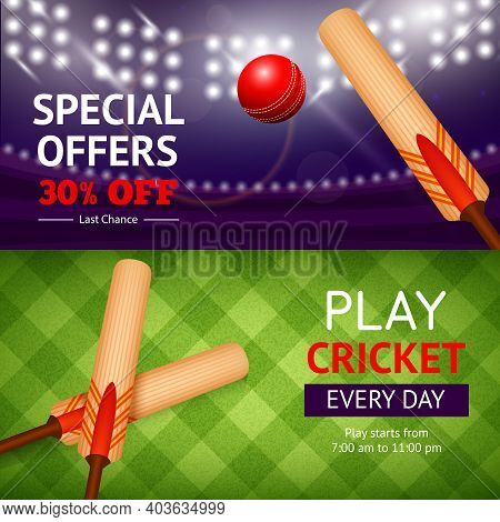 Cricket Horizontal Banner Set With Sport Bat And Ball Isolated Vector Illustration