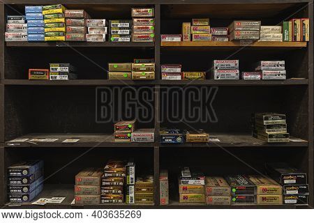 Placerville, Usa - November 25, 2020: Half Empty Shelves With Rifle Ammo Boxes At A Gun Shop, Ammuni