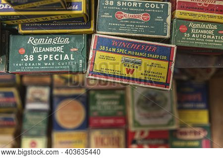Placerville, Usa - November 25, 2020: Vintage Pistol Bullet Cartridge Ammo Boxes By Remington And Wi