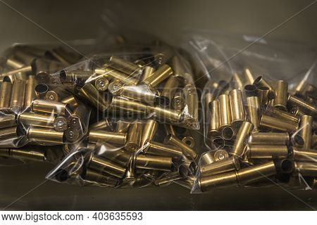 Placerville, Usa - November 25, 2020: Empty Brass Pistol Cartridges, Ammo In Bulk At A Gun Shop, Amm