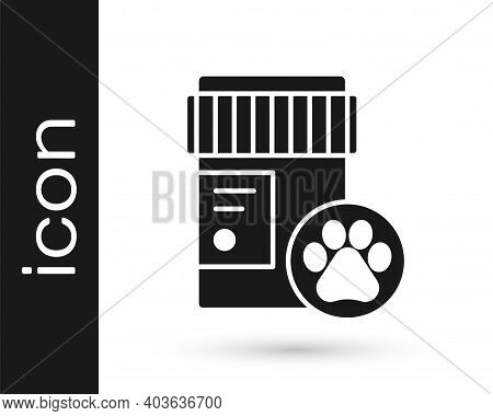 Grey Dog Medicine Bottle Icon Isolated On White Background. Container With Pills. Prescription Medic