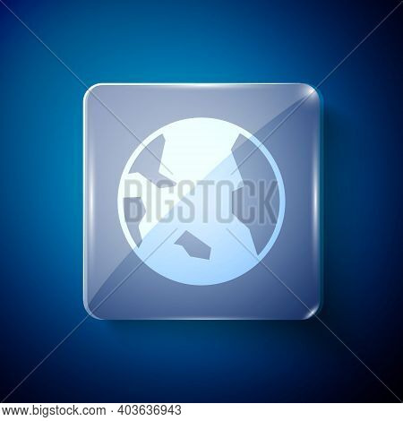 White Earth Globe Icon Isolated On Blue Background. World Or Earth Sign. Global Internet Symbol. Geo