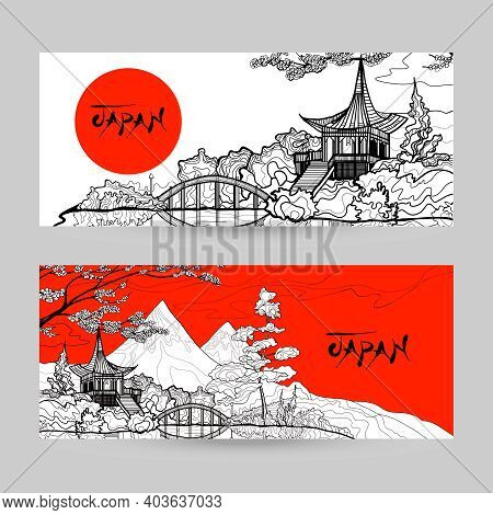 Japan Horizontal Banner Set With Sunrise Pagoda Landscape Hand Drawn Isolated Vector Illustration