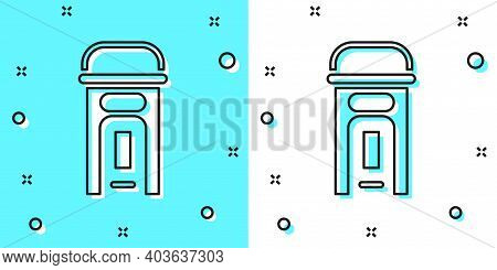 Black Line London Phone Booth Icon Isolated On Green And White Background. Classic English Booth Pho