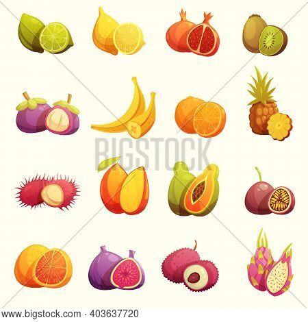 Fresh Tropical Fruits Retro Cartoon Icons Set With Lime Banana Papaya Kiwi And Pomegranate Isolated