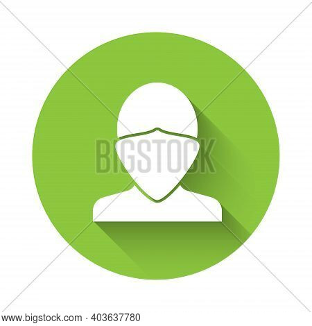 White Vandal Icon Isolated With Long Shadow. Green Circle Button. Vector