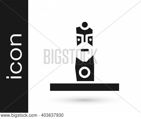 Black Slavic Pagan Idol Icon Isolated On White Background. Antique Ritual Wooden Idol. Vector
