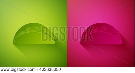 Paper Cut Taco With Tortilla Icon Isolated On Green And Pink Background. Traditional Mexican Fast Fo