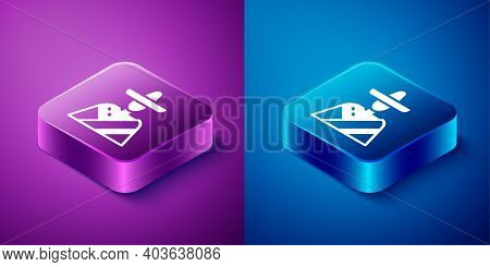 Isometric Mexican Man Wearing Sombrero Icon Isolated On Blue And Purple Background. Hispanic Man Wit