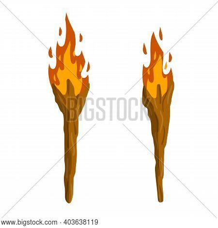 Torch On Stick. Primitive Weapon. Burning Club. Cartoon Flat Illustration. Old Item For Lighting. Fi