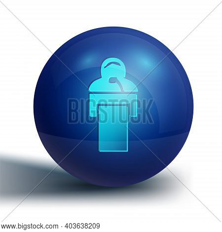 Blue Gives Lecture Icon Isolated On White Background. Stand Near Podium. Speak Into Microphone. The