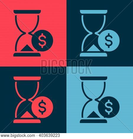 Pop Art Hourglass With Dollar Icon Isolated On Color Background. Money Time. Sandglass And Money. Gr