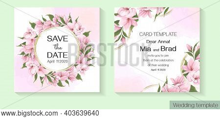 Floral Template For Wedding Invitation. Pink Delicate Sakura, Magnolia, Watercolor Background.