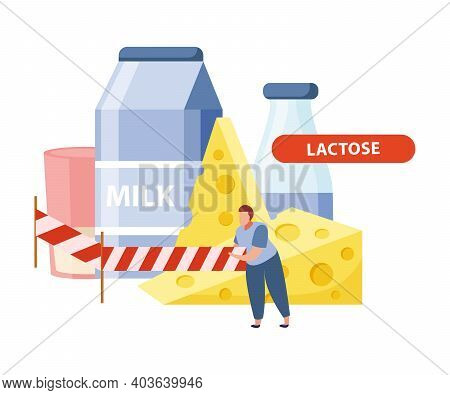 Lactose Intolerance Flat Concept With Prohibited Dairy Products Vector Illustration