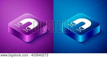 Isometric Magnet Icon Isolated On Blue And Purple Background. Horseshoe Magnet, Magnetism, Magnetize