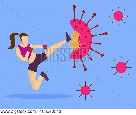 Illustration Vector Design Of Fighter Vs Virus