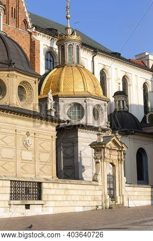 Krakow, Poland - January 10, 2021 : 11th Century Wawel Cathedral, Coronation Place Of Polish Kings O