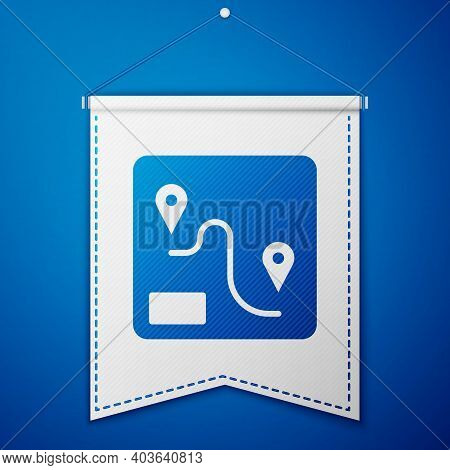 Blue Route Location Icon Isolated On Blue Background. Train Line Path Of Train Road Route With Start