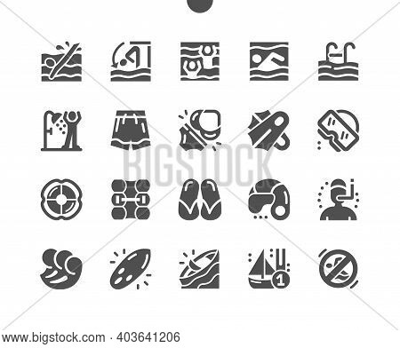 Swimming Pool, Slippers, Swimming Flippers, Waves, Diving Mask And Surfboard. Activity, Sport, Game
