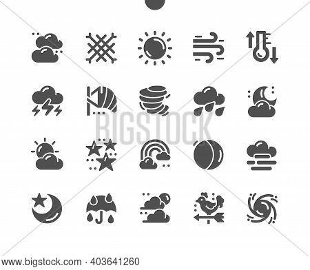 Weather Forecast. Sky Clarity And Precipitation. Seasonal Weather Forecast, Meteorological Report. C