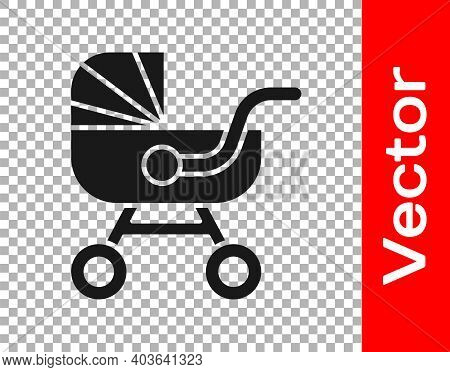 Black Baby Stroller Icon Isolated On Transparent Background. Baby Carriage, Buggy, Pram, Stroller, W