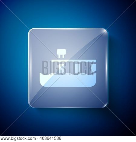 White Beach Pier Dock Icon Isolated On Blue Background. Square Glass Panels. Vector