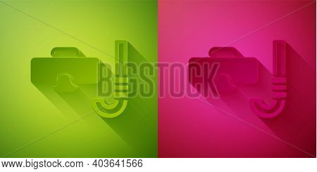 Paper Cut Diving Mask And Snorkel Icon Isolated On Green And Pink Background. Extreme Sport. Diving