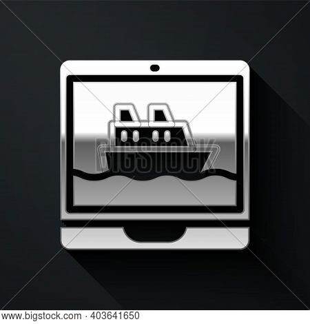 Silver Cruise Ship Icon Isolated On Black Background. Travel Tourism Nautical Transport. Voyage Pass