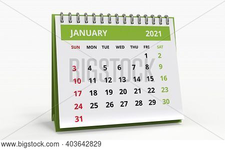 Standing Desk Calendar January 2021. Business Monthly Calendar With Metal Spiral Bound, The Week Sta