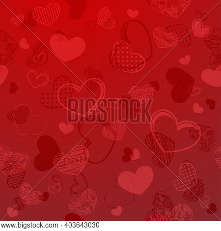 Red Floral Background With Heart Symbol And Shadow. Happy Valentines Day Wallpaper For Greeting Card