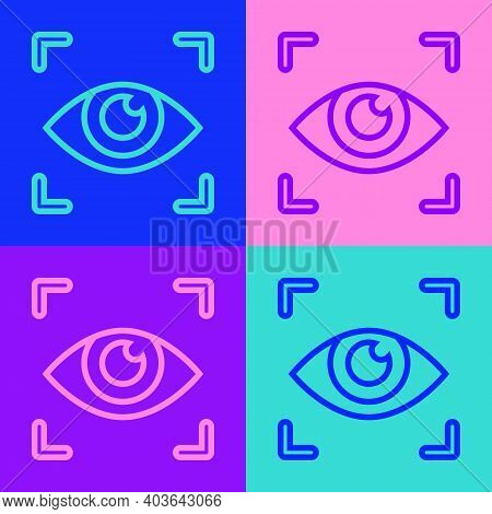 Pop Art Line Eye Scan Icon Isolated On Color Background. Scanning Eye. Security Check Symbol. Cyber