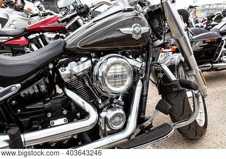 Samara, Russia - May 18, 2019: Harley Davidson Motorcycles On The City Street
