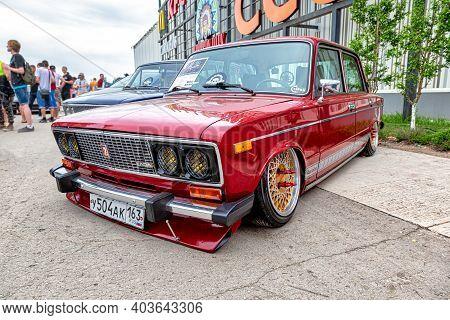 Samara, Russia - May 19, 2018: Vintage Russian Tuned Automobile Lada-2106 At The Parade Of Old Cars