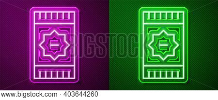 Glowing Neon Line Mexican Carpet Icon Isolated On Purple And Green Background. Vector