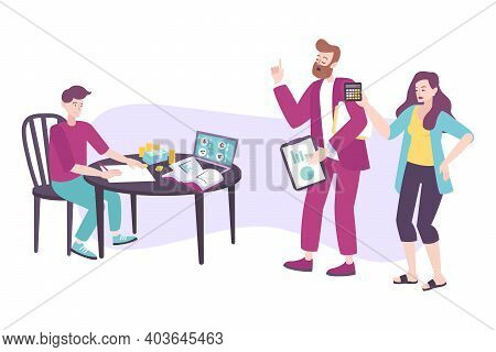 Parenting Flat Concept With Parents And Their Child Doing Business Together Vector Illustration