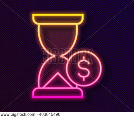 Glowing Neon Line Hourglass With Dollar Icon Isolated On Black Background. Money Time. Sandglass And