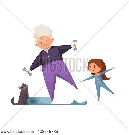 Cheerful Grandma And Granddaughter Doing Fitness Together Flat Vector Illustration